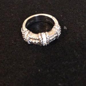 Judith Ripka SS 925 rope ring Diamonique stones
